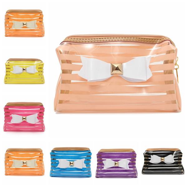 22991c28d7b1 Stripe Transparent Cosmetic Bag Travel PVC Bow Tie Make Up Organizer Case