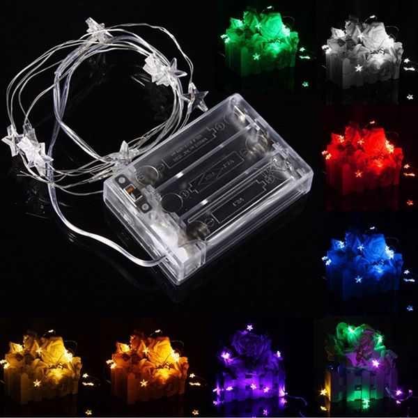 Accents White Led String Lights Battery Operated : 2M 20 LED Battery Powered Star String Fairy Light For Christmas Party Weddinng Decor Alex NLD
