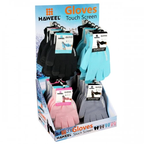 20 Pairs HAWEEL Three Fingers Touch Screen Gloves Kit with Display Stand Box for Men / Women / Kids