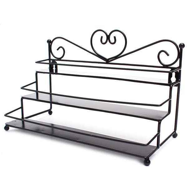3 Tiers Alloy Nail Polish Display Organizer Rack Stand Cosmetic ...