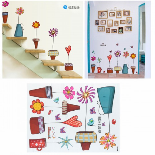 40x60cm baby room cartoon flower craft butterfly stickers for Baby room decoration games free online