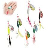 6pcs Spoon Metal Fishing Lures CrankBait Bass Tackle Hooks Set Spinner Baits
