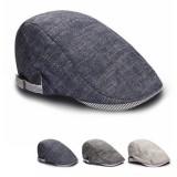 Mens Male Beret Retro Cotton Visor Gorras Planas Hat Cabbie Ivy Cap