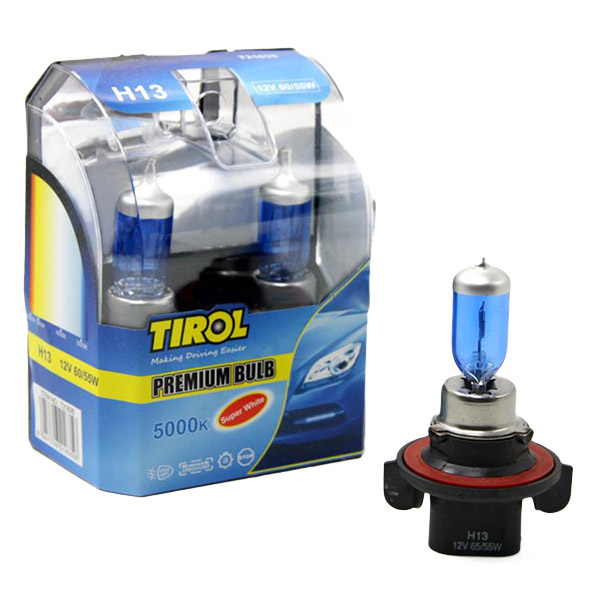 Tirol H13 12V 60/55W Car Halogen Headlight Fog Lamp 3000K 5000K Replacement Light Source
