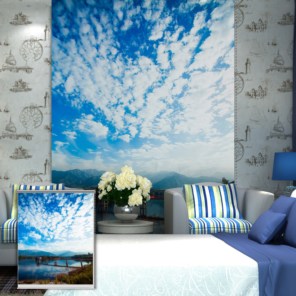 Blue Print Wall Decor : Pag blue sky roller shutters print painting blind