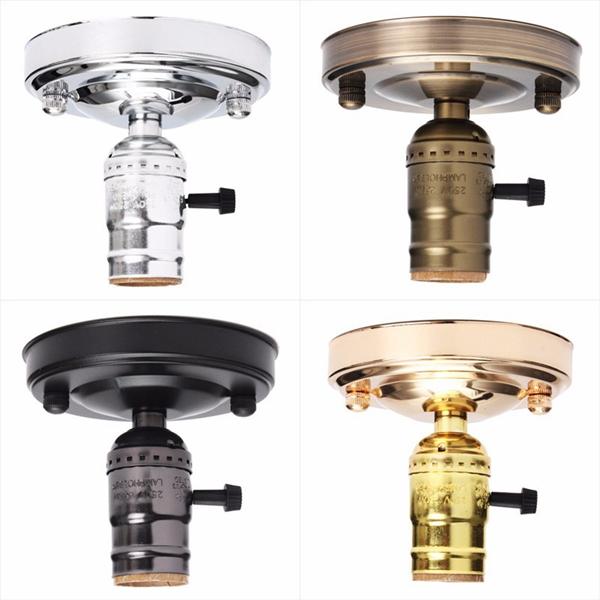 Vintage Lamp Light Bulb Holder E27 Black Screw Bulbs Ceiling Retro Pendant Lamp Holder Without Switch For Living Room