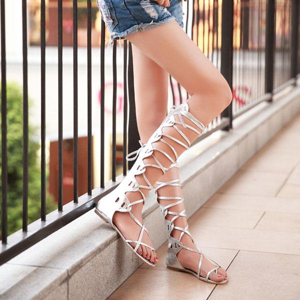 953106579508 Summer Women Lady Lace Up Knee High Boots Thong Sandals Beach ...