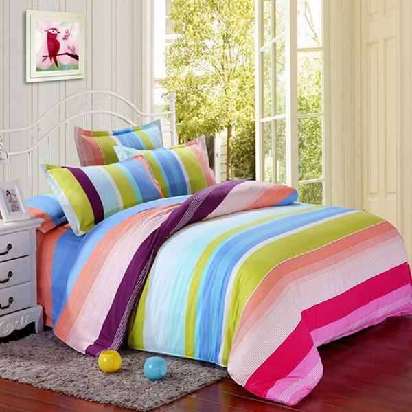 Polyester Colorful Stripes Single Queen King Reactive
