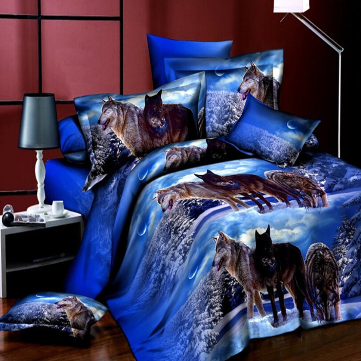 4pcs suit 3d snowfield wolf reactive dyeing polyester - Drap housse king size ...