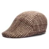 Unisex Men Women Woolen Gird Stripe Newsboy Beret Hat Duckbill Cowboy Golf Flat Cabbie Cap