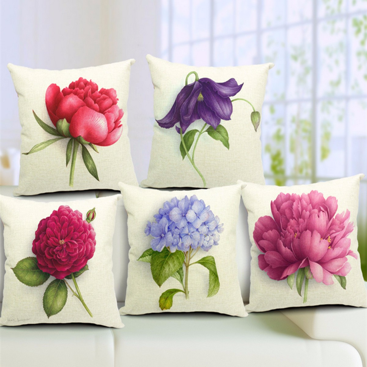 Rose Flowers Cotton Linen Throw Pillow Case Sofa Bed Car