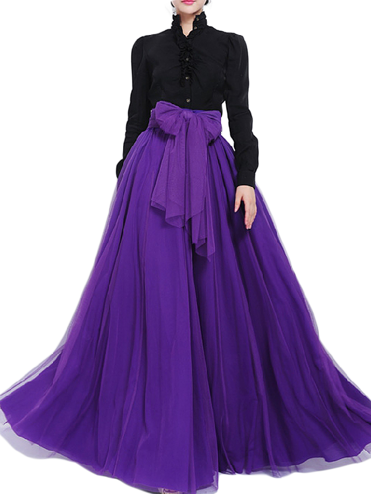 Bow Belt Solid Color Mesh Tulle Pleated High Waist Women