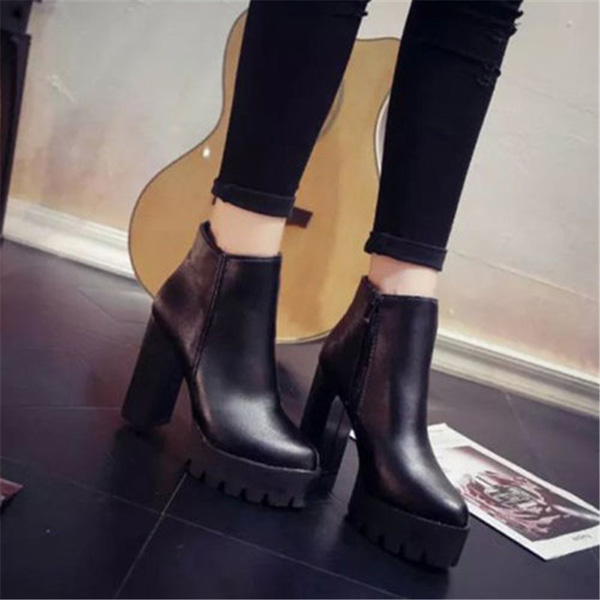 Women Casual Platform High Heel Ankle Boots Fashion Faux Leather Shoes Black  Zipper Boots · 8a24d06b-58b0-4630-abe3-40094d6a91ae.jpg ... 07bc188c3c