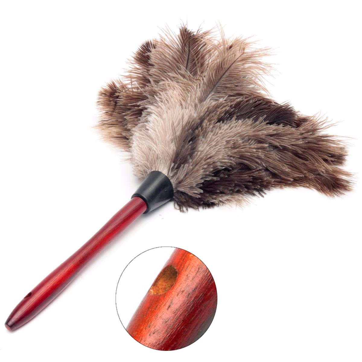 20cm Ostrich Feather Home Cleaning Duster Brush Wood