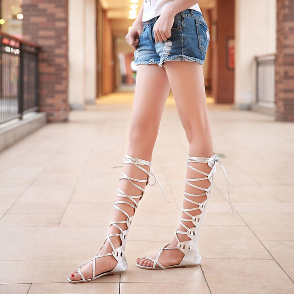 Summer Women Lady Lace Up Knee High Boots Thong Sandals