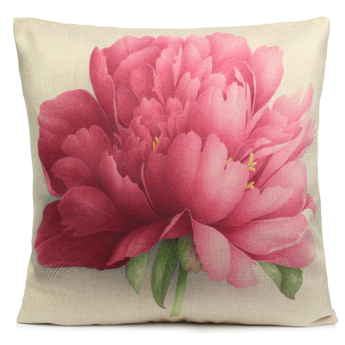 Rose Flowers Cotton Linen Throw Pillow Case Sofa Bed Car Cushion