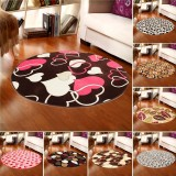 80x80cm Coral Velvet Bathroom Absorbent Carpet Anti Slip Doorsill Round Mat Rug