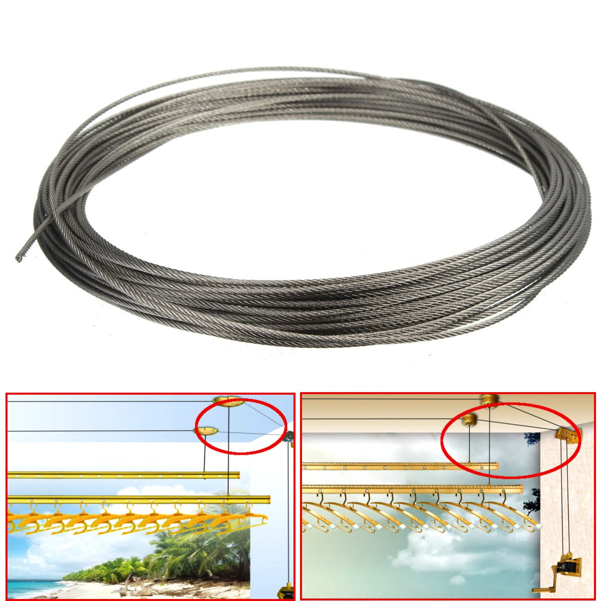 15m 316 stainless steel clothes cable line wire rope. Black Bedroom Furniture Sets. Home Design Ideas