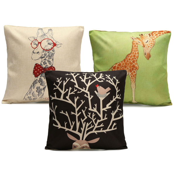 Throw Pillows Deer : Christmas Cartoon Giraffe Deer Throw Pillow Case Home Sofa Car Cushion Cover Alex NLD
