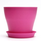 12cm 6 Colors Plastic Plant Flower Planting Flower Pot Garden Office Decoration Flowerpot With Tray