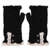 Women Ladies Arm Knitted Fingerless Gloves Button crochet Lace Mittens