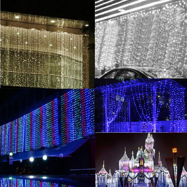 6x3M Outdoor Xmas Tree String Fairy Wedding Curtain Light Party Lamp 220V