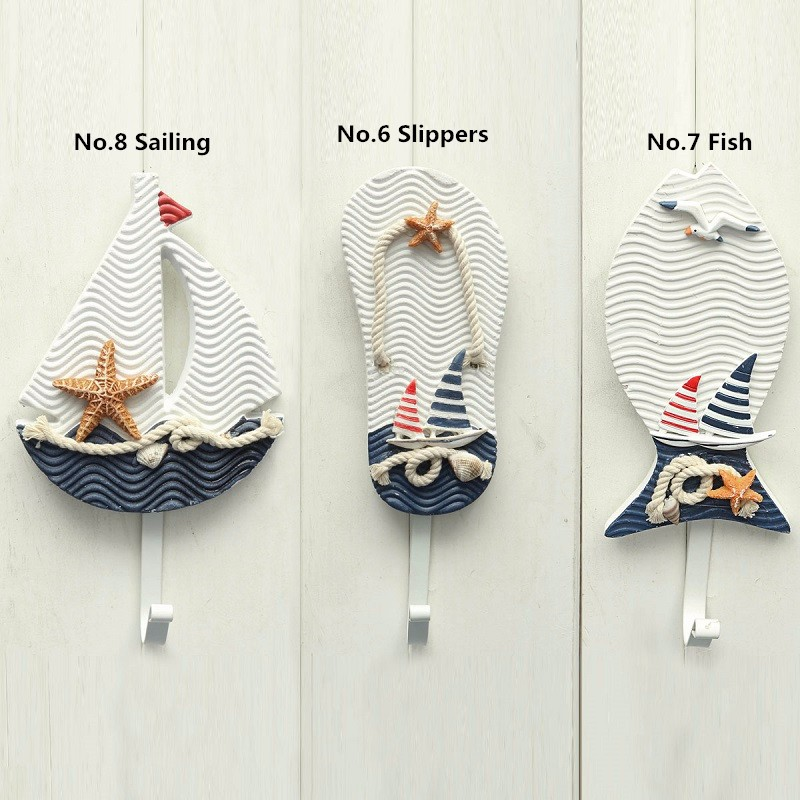 Mediterranean Style Pothook Nautical Hat Clothes Home Wall