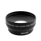 0.45x 52mm Super Fisheye Wide Angle Fixed Focus Lens For Canon Nikon Pentax Sony Minolta With 18-55mm Lens