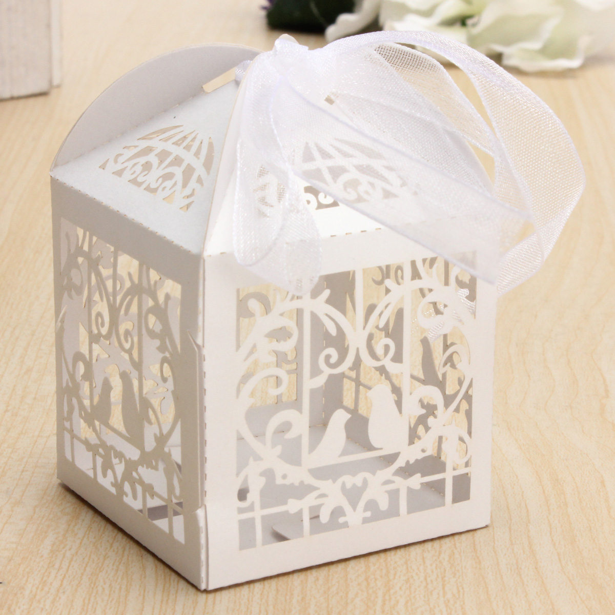 10pcs Pierced Birdcage Candy Sweet Gift Box Wedding Party Cake ...