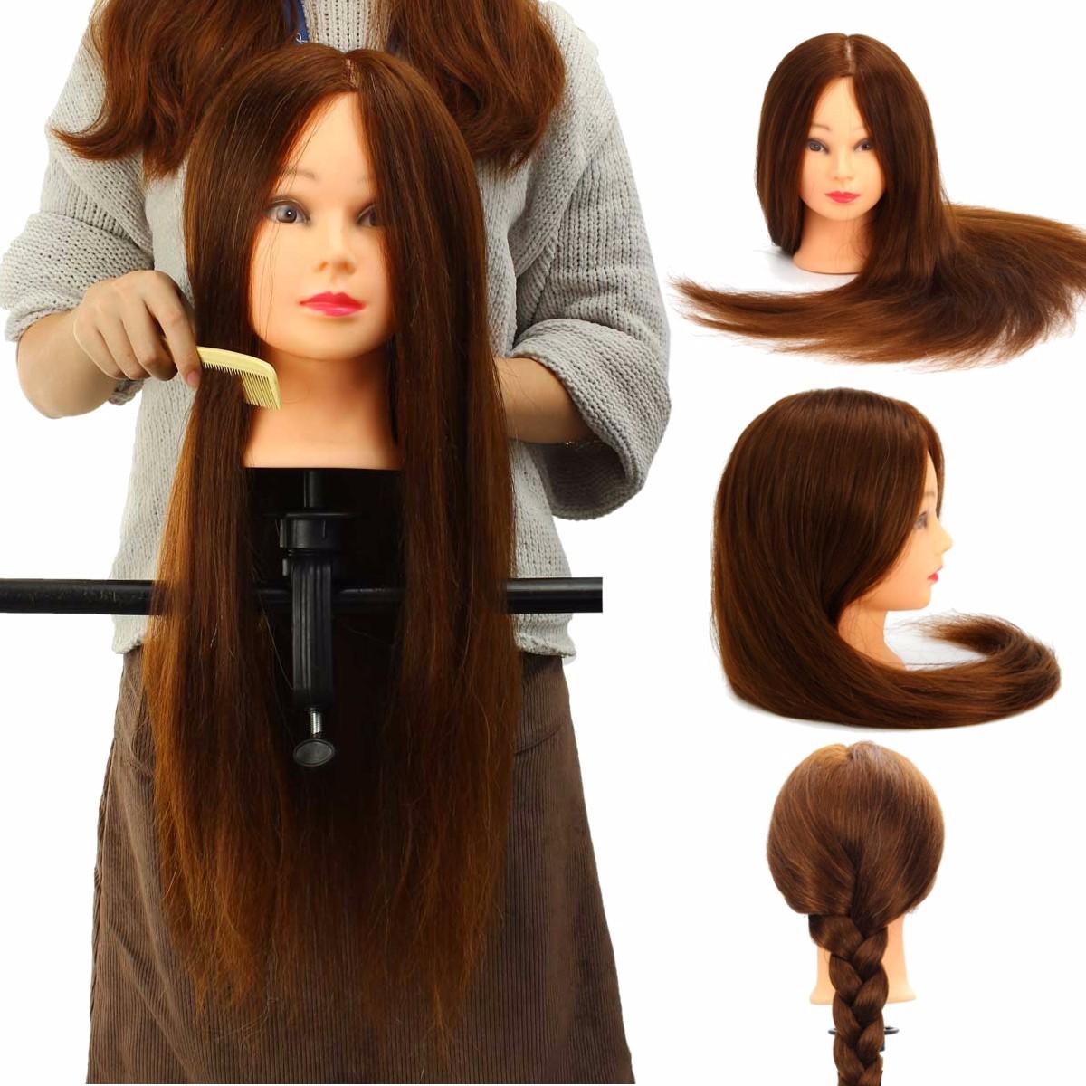 100% Real Human Hair Mannequin Head Salon Hairdressing ...