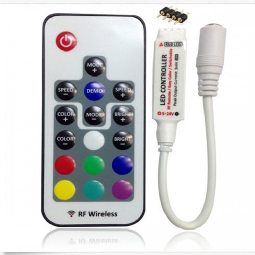 17 Keys DC 5V-24V RF Wireless Remote LED Controller for SMD 3528 5050 RGB LED Strip Light