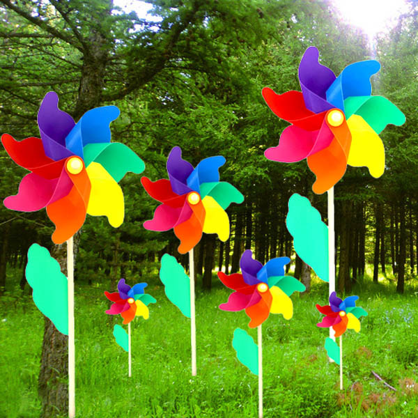 Charmant Colorful PVC Wooden Windmill Home Garden Party Wedding Decoration Kid Toy