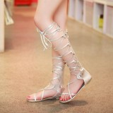 Summer Women Lady Lace Up Knee High Boots Thong Sandals Beach Sandals