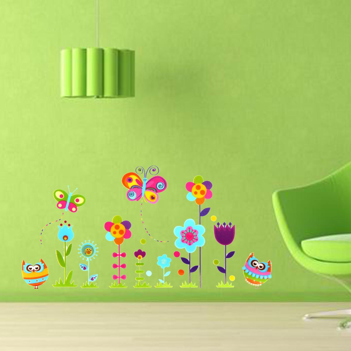 Kids Room Decor Owl Butterfly Flower Nursery Diy Removable