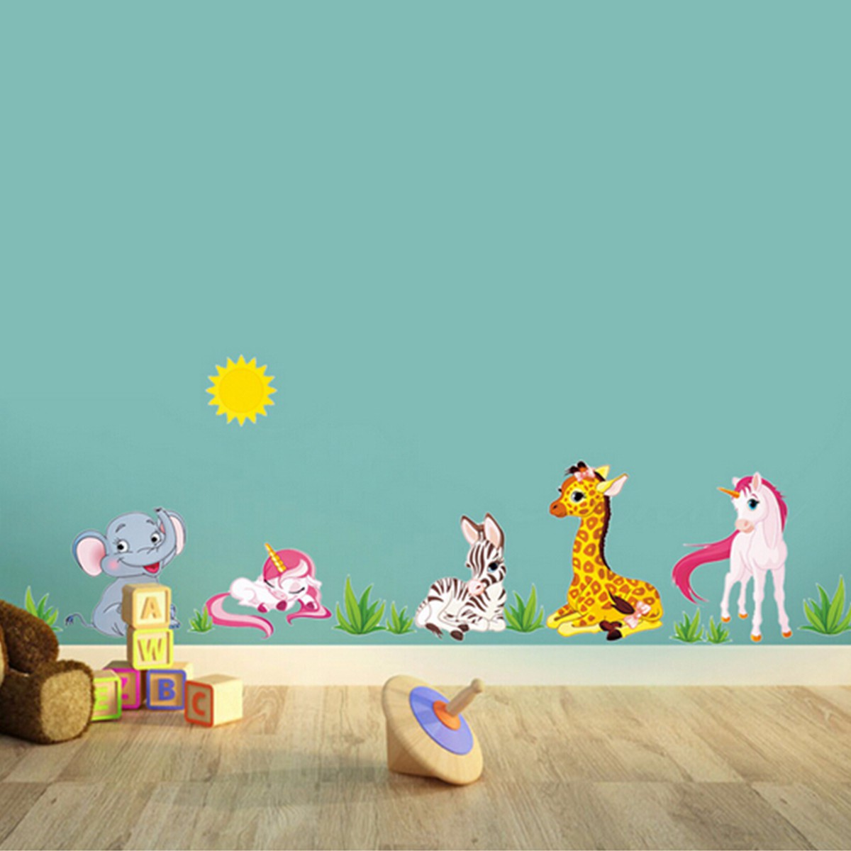 Cartoon Animal Elephant Giraffes Grass Bedroom Removable