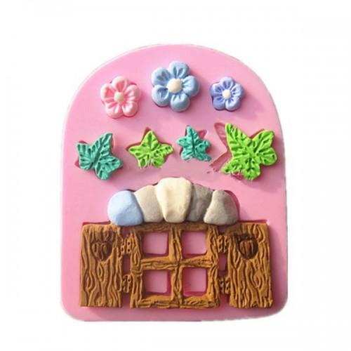Plants Wooden Window Liquid Silicone Mold Fondant Cake Decorating Mould