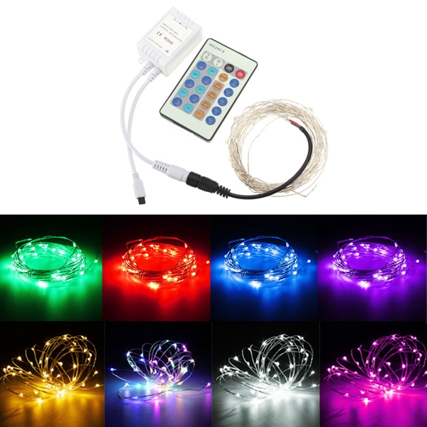 String Lights With Remote : 12V 10M 100LED Silver Wire Xmas String Fairy Light Remote Controller without Adapter Alex NLD
