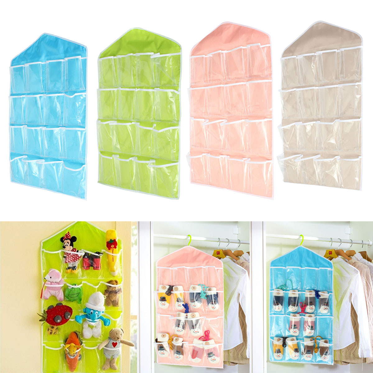 Storage bag 16 pocket over door hanging bag shoe socks for Door organizer