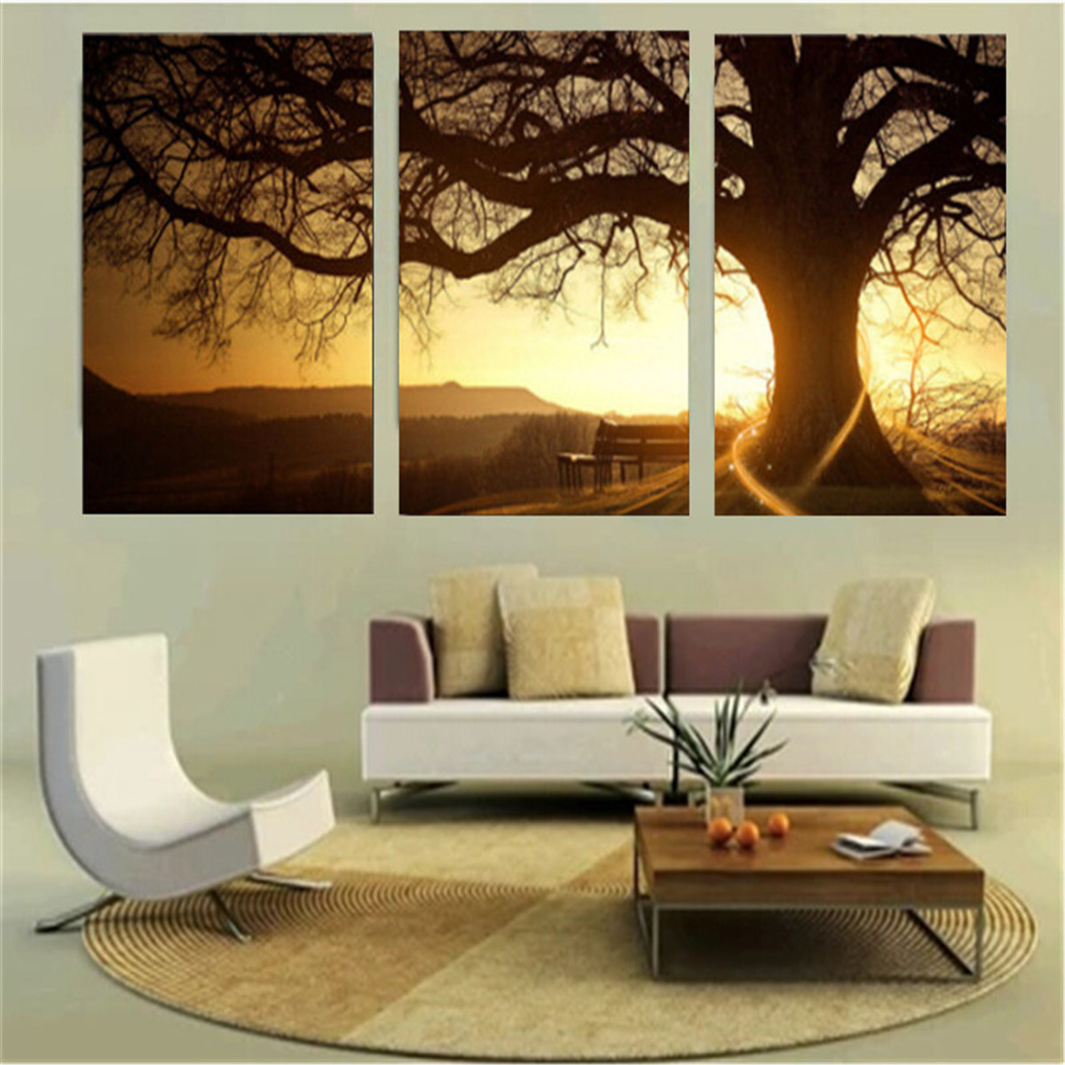 3Pcs Sunset Combination Painting Printed On Canvas ...