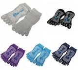 Elastic Cotton Yoga Sock Nonslip Full Toe Grip Fitness Silicon Massage Dots Sock 5 Colors