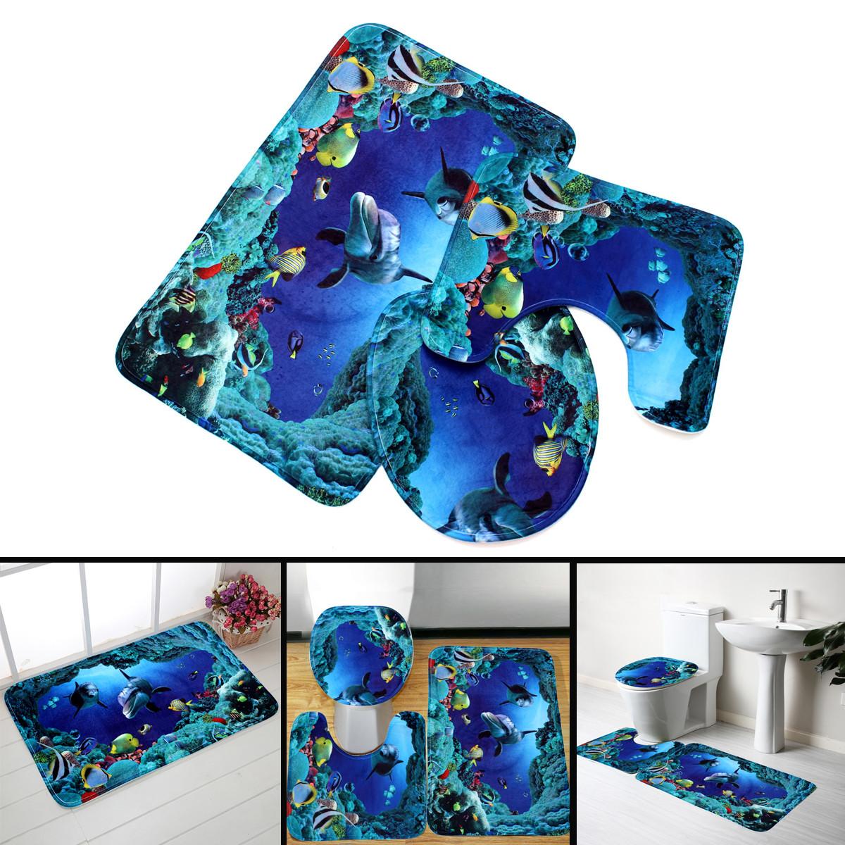 3pcs Blue Ocean Bath Rugs Set Velvet Fabric Pedestal Mat