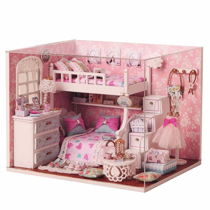 Amazing Kits DIY Wood Dollhouse Miniature With Furniture Doll House Room Angel Dream