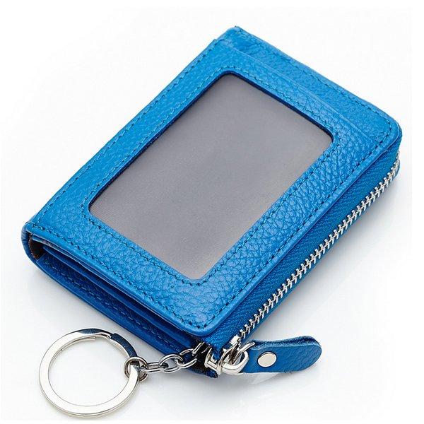 Women Men Genuine Leather Short Wallet Zipper Coin Bags Card Holder
