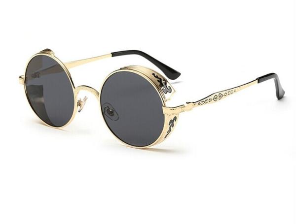 Retro Carved Round Sunglasses (Frame Gold frame gray sheet ...