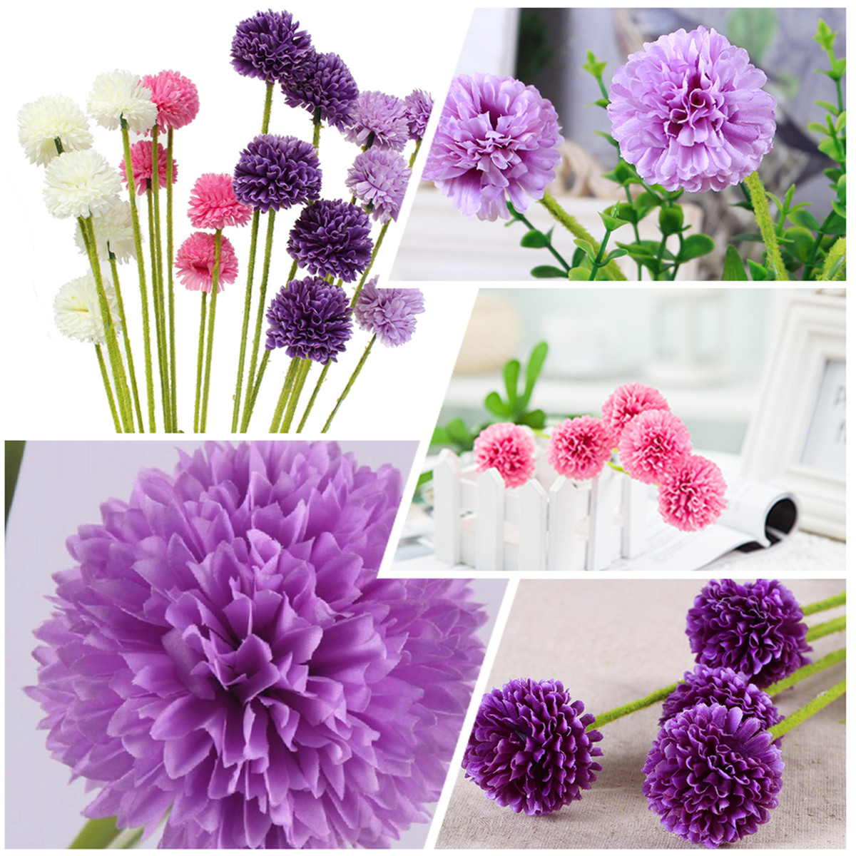 5 Heads Lavender Ball Artificial Silk Flowers Bouquet Simulation Home Wedding Party Decor Gift