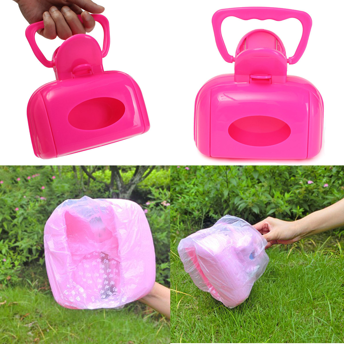 Portable Pet Dog Cat Waste Bag Case Pooper Scooper Poop Scoop Pickup Clip Easy Clean Tool