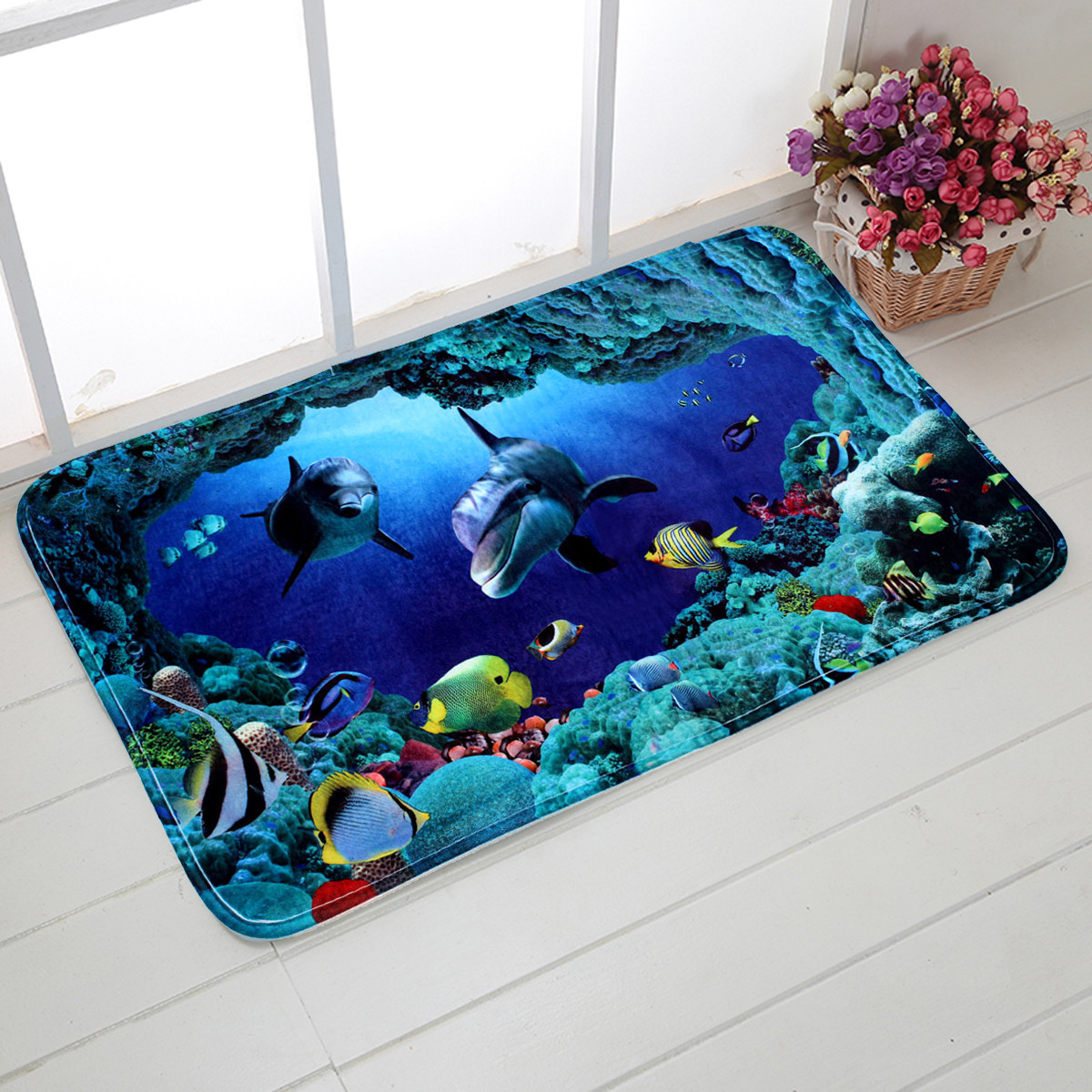 3pcs Blue Ocean Bath Rugs Set Velvet Fabric Pedestal Mat