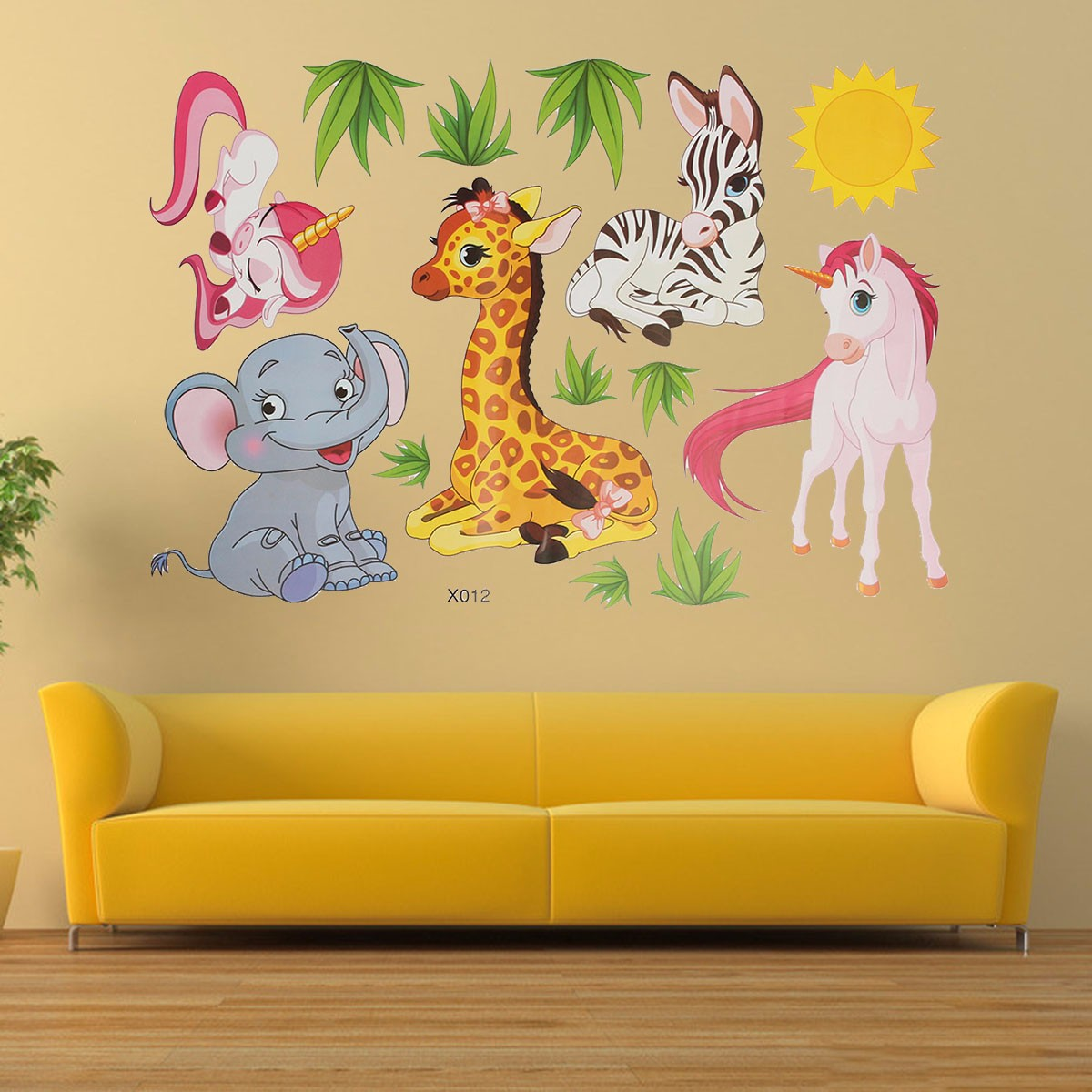 Cartoon Animal Elephant Giraffes Grass Bedroom Removable Wall ...