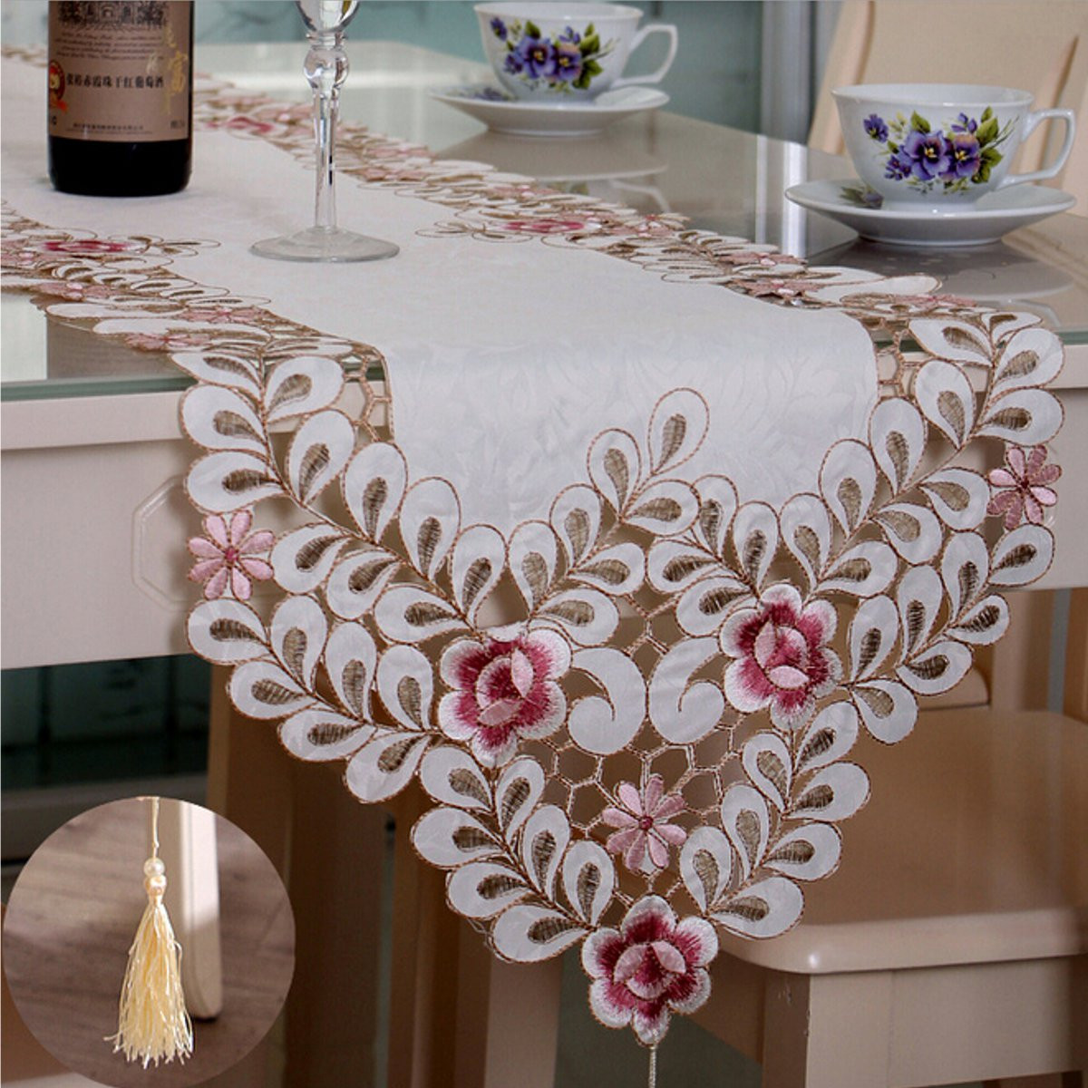 Four Size Pastoral Table Runner Flower Tablecloth Wedding