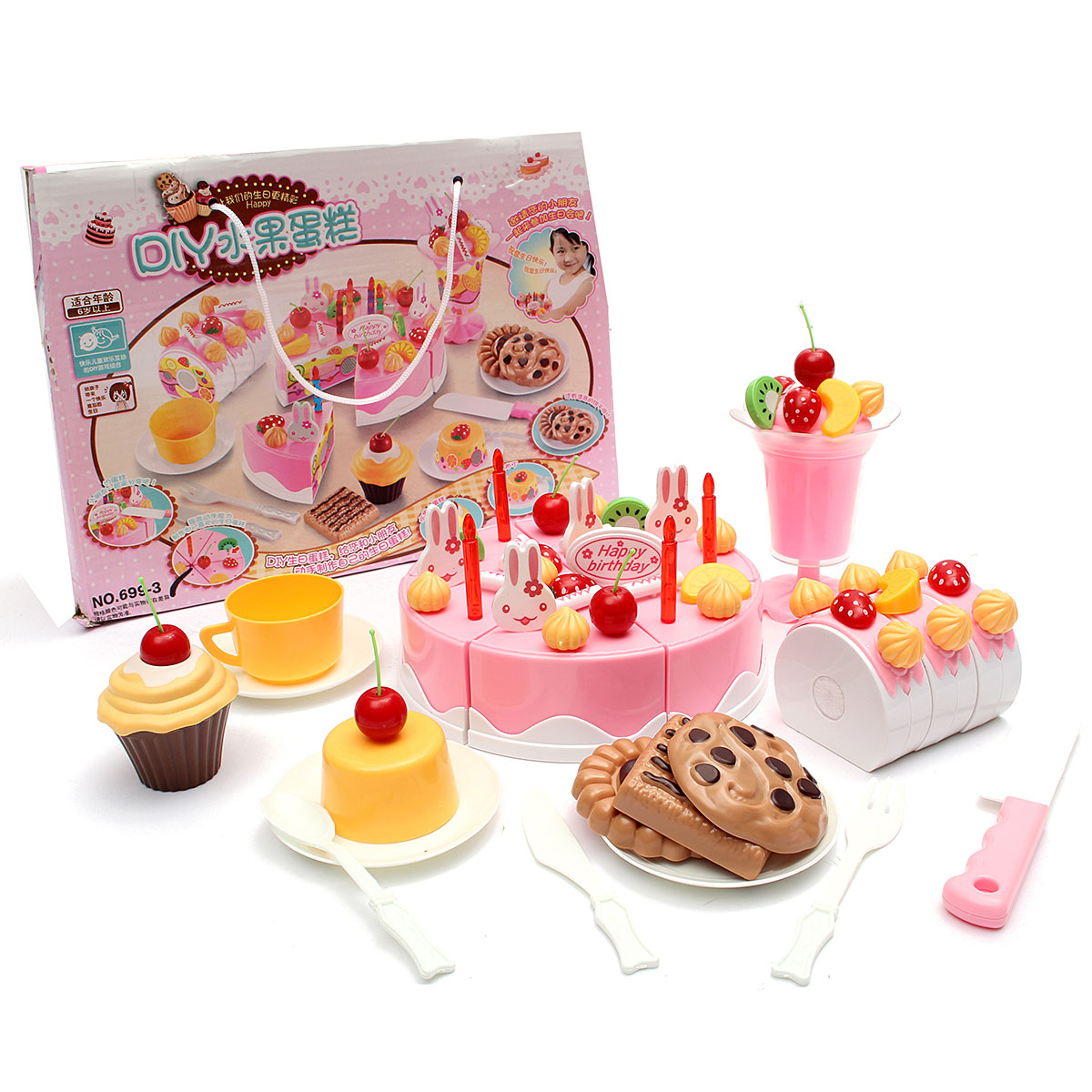 Set Of 75pcs Birthday Cake Set Pretend Play For Kids
